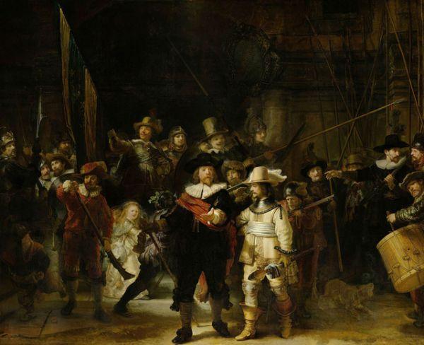 «Ночной дозор» (1642). Самая известная картина Рембрандта.  Она провисела в различных залах почти 200 лет и была обнаружена искусствоведами только в XIX веке при пробуждении нового интереса к художнику. Кажется, что сюжет картины происходит в тёмное время суток, поэтому её назвали «Ночной дозор». И только при реставрации обнаружилось, что картина успела покрыться слоем копоти, исказившим её колорит: сцена, представленная Рембрандтом, на самом деле происходит днём.