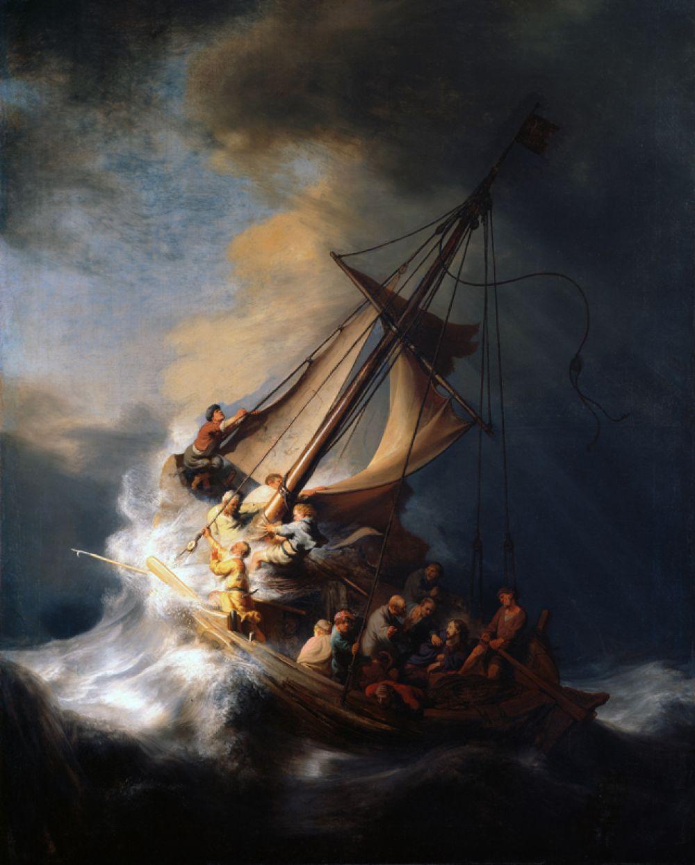 «Христос во время шторма на море Галилейском» (1633). Единственный существующий морской пейзаж Рембрандта. Картина изображает чудо Иисуса, который успокаивает бурю, как это описано в Евангелии. В 1990 году полотно было украдено из музея Изабеллы Стюарт Гарднер в Бостоне.