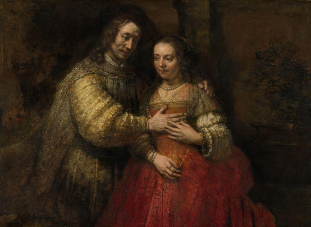 «Еврейская невеста» (1665). Одна из последних и загадочных картин Рембрандта. Название ей дал в 1825 году амстердамский коллекционер Ван дер Ноор, полагавший, что на ней изображен отец, дарящий дочери-еврейке ожерелье на свадьбу. Однако одежда персонажей похожа на старинную, библейскую. Рентгенограмма картины показывает, что первоначально на картине были изображены дополнительные детали, в частности, в руке девушки была корзинка с цветами.