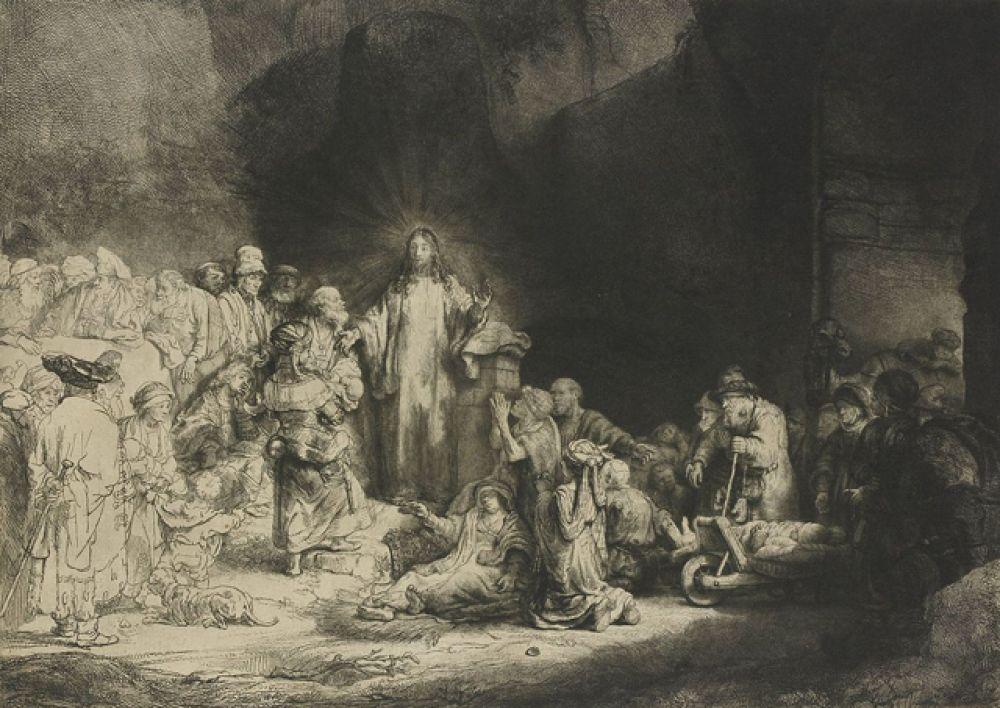 «Христос, исцеляющий больных» или «Лист в сто гульденов» (1643—1649). Гравюра художника, существующая в двух состояниях, первое из которых — очень редкое, есть всего лишь несколько экземпляров. Офорт, на котором изображено более 40 персонажей, считается одним из лучших у Рембрандта.