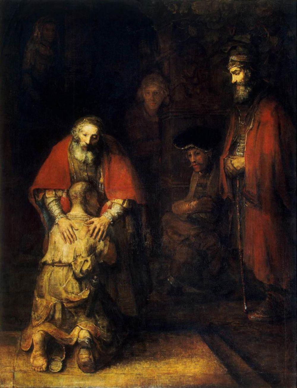 «Возвращение блудного сына» (1666-1669). Полотно художника на сюжет новозаветной притчи. На картине изображён финальный эпизод, когда блудный сын возвращается домой. Это самое большое полотно Рембрандта на религиозную тему.