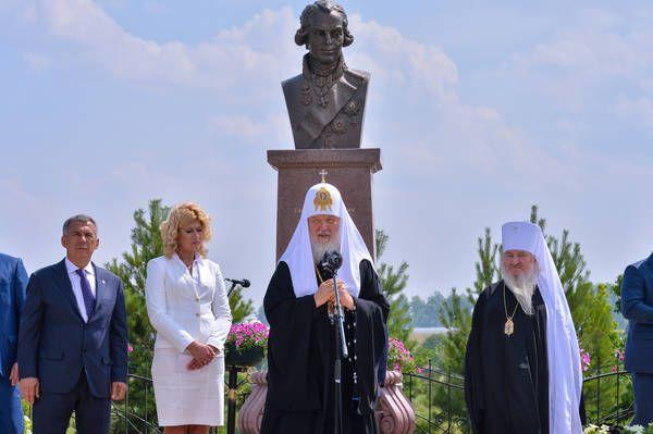 В Лаишевском районе Патриарх принял участие в открытии памятника Гавриилу Державину