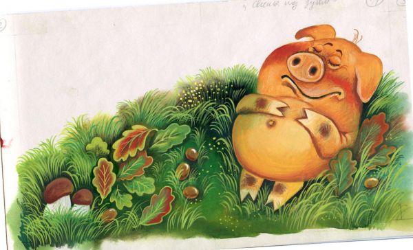 Иллюстрация к басне И. Крылова «Свинья под дубом»