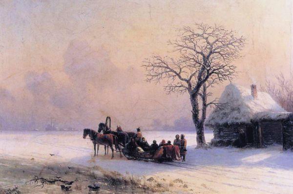 «Зимняя сцена в Малороссии» (1868).