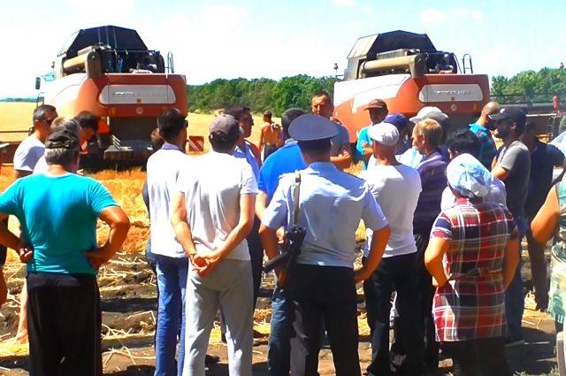 Уборка пшеницы в Ростовской области проходит под присмотром вооруженных полицейских.