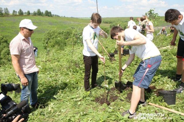 Сажая деревья, юные экологи защищают от разрушения интересное подземное сооружение.