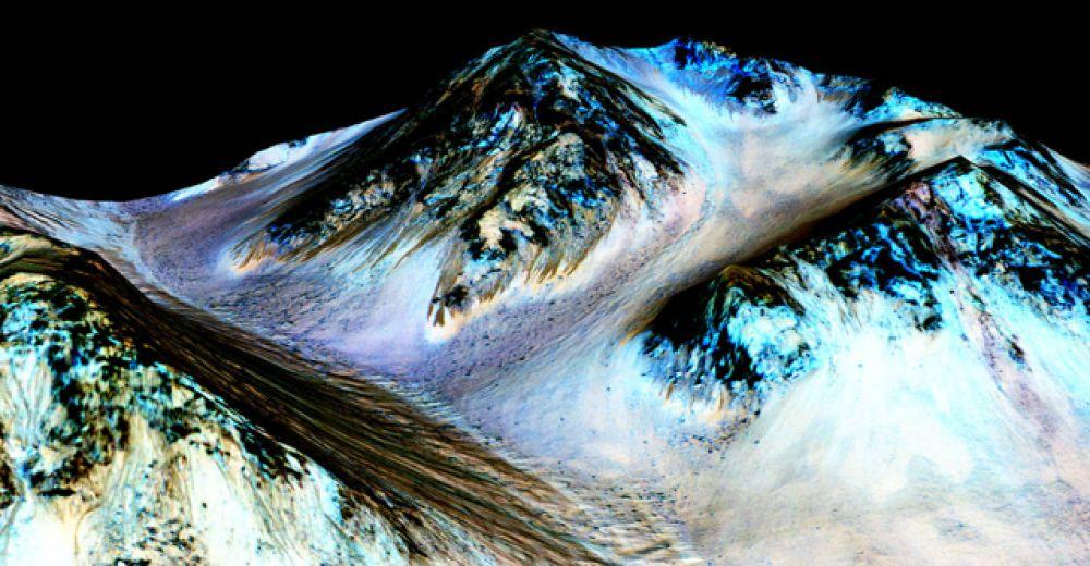Темные полосы на склонах марсианских кратеров образуются за счет сезонных потоков воды.