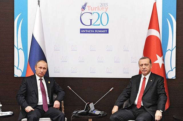 Владимир Путин и Реджеп Эрдоган во время встречи на полях саммита G20.