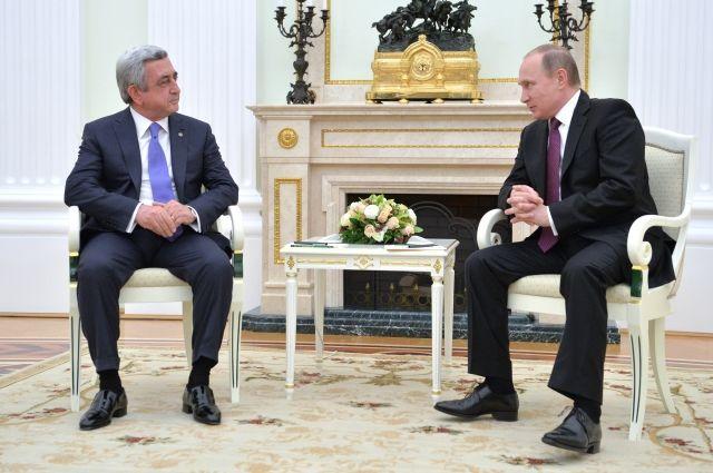 Путин проведет переговоры спрезидентом Армении Саргсяном в российской столице