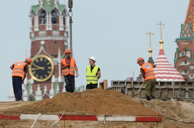 Строительство парка Зарядье.