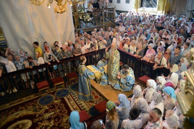 Вкафедральном соборе Смоленска провели литургию вчесть иконы Одигитрии