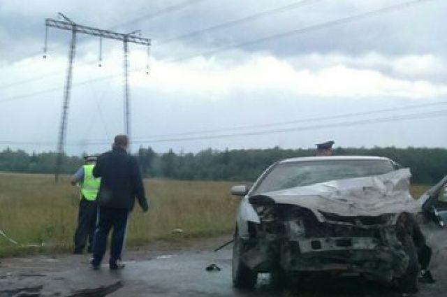 На трассе за поселком Элита произошло лобовое столкновение двух автомобилей.
