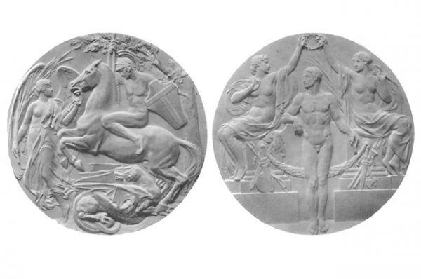 Начиная с Олимпийских игр 1908 года в привычку вошло изменять дизайн, состав металлов и размеры наград. Для Олимпиады в Лондоне были произведены очень маленькие медали — 33 мм в диаметре. Это было связано с тем, что медали за первое место было решено отливать из чистого золота 583-й пробы.  На лицевой стороне изображен атлет и две женские фигуры, возлагающие венок на его голову, на оборотной стороне — Георгий Победоносец на коне, а перед ним — богиня победы с пальмовой ветвью. На ребре выгравировано название соревнования и имя победителя.