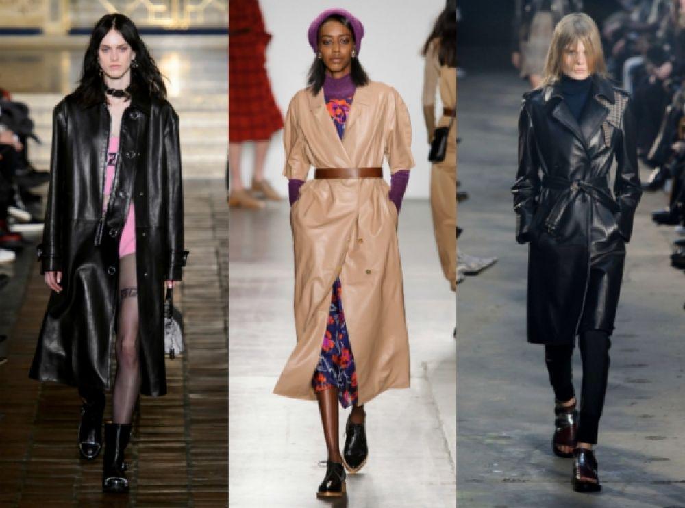 Кожаные платья, пальто, тренчи и куртки станут очень модными этой осенью. Предпочитаемые цвета - темный и оттенки бежевого
