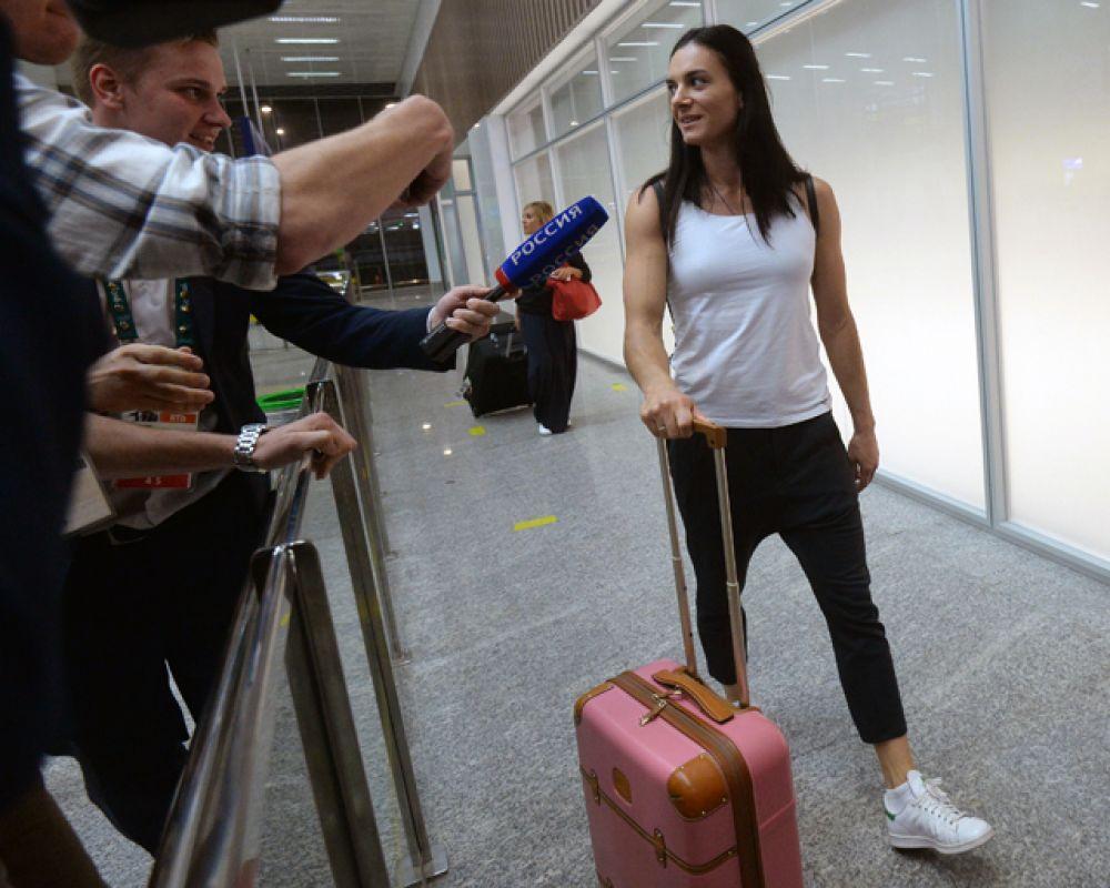 Двукратная олимпийская чемпионка прилетела в Рио-де-Жанейро в понедельник утром.