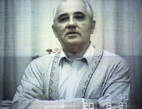 Кадр из видеообращения президента СССР Михаила Горбачева к народу, записанного 20 августа 1991 года во время его домашнего ареста на даче в Форосе.