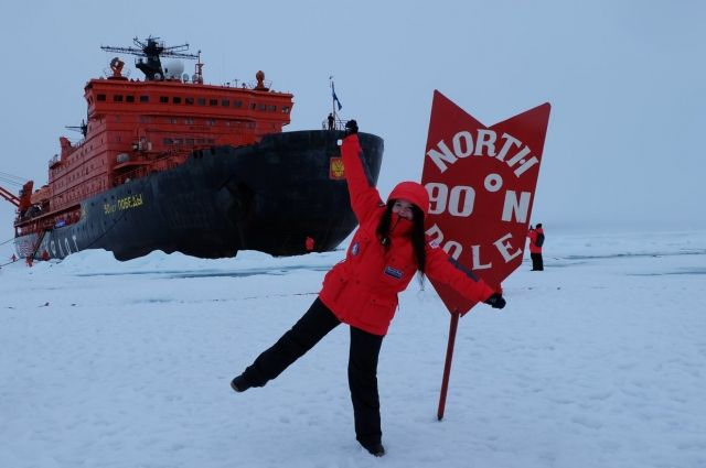 23-летняя Забава Каченовская отправилась в путешествие на Северный полюс на атомном ледоколе «50 лет Победы».