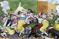 Английская карикатура на заседания дамских литературных клубов.