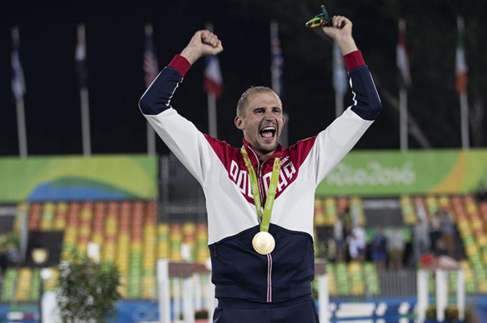 Александр Лесун взял золотую медаль Игр в соревнованиях по современному пятиборью.