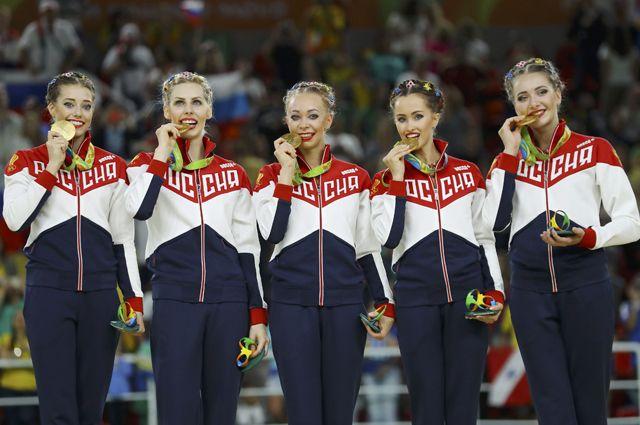 Сборная России по художественной гимнастике.