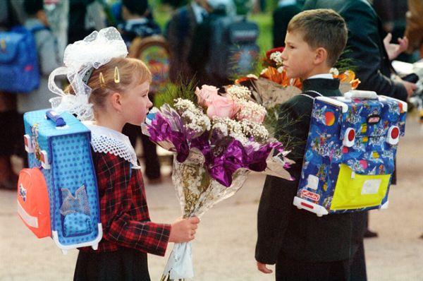 Московские школьники в День знаний 1 сентября, 2003 год.