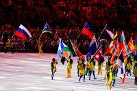 Флаги стран-участниц на церемонии закрытия XXXI летних Олимпийских игр.