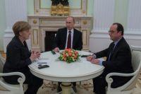 Президент России Владимир Путин, канцлер Германии Ангела Меркель и президент Франции Франсуа Олланд