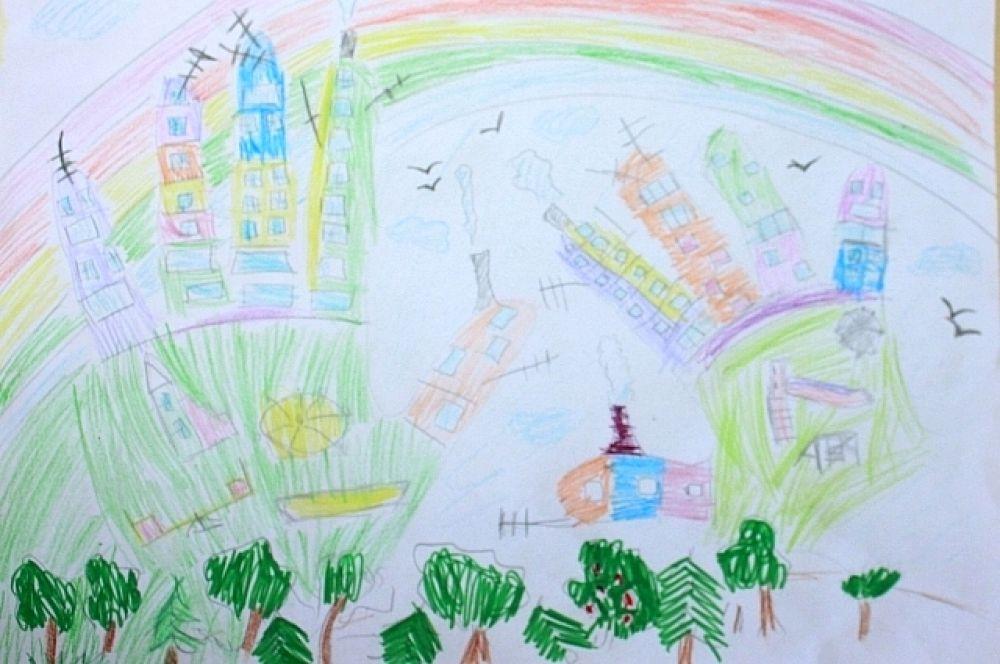 Участник №9. Любочкина Аня, 6 лет. «Город мечты». Детский сад №95