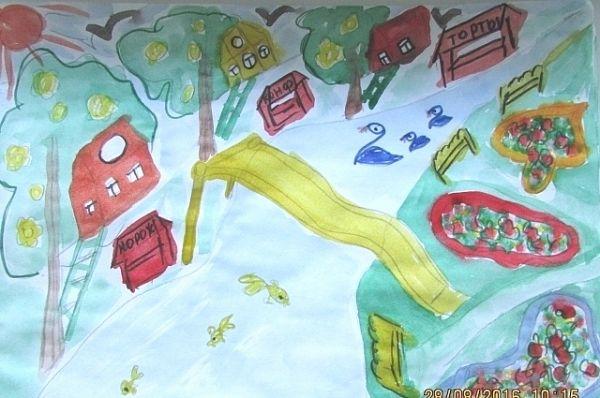 Участник №10. Каптюкова Ксения, 6 лет «Иркутск на деревьях». Детский сад № 181, группа 10