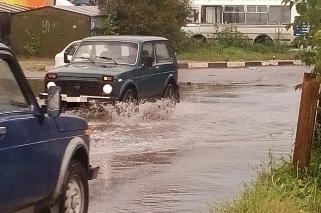 Улица Курковая во время дождей