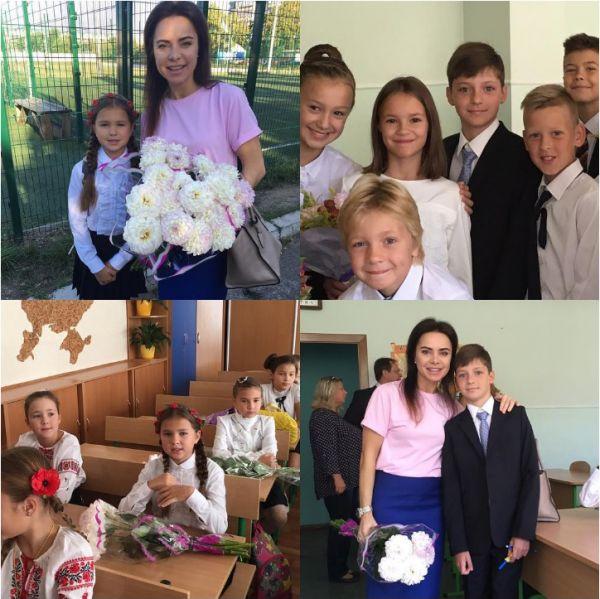 Лилия Подкопаева отвела дочь и сына на праздник первого звонка
