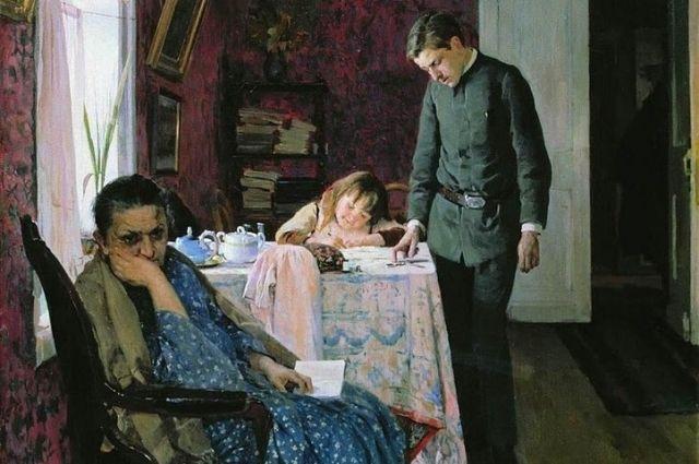 Картина «Опять провалился», 1891. Гимназист старших классов в форменной куртке.