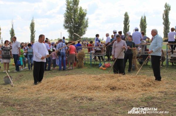 Молотьба пшеницы вручную. Этот прием уборки урожая на празднике мог попробовать каждый.