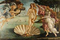 Сандро Боттичелли, «Рождение Венеры», 1482-1486 гг., репродукция
