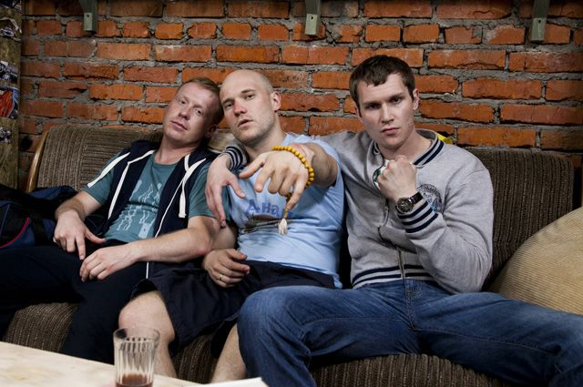 Антоха, Вован и Колян на съемках сериала.