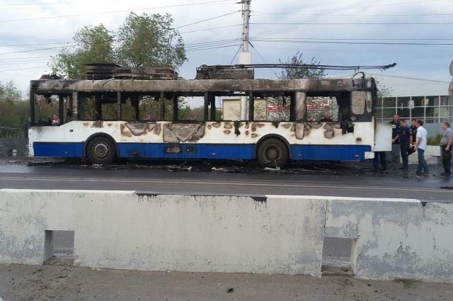 ВВолгограде горел троллейбус