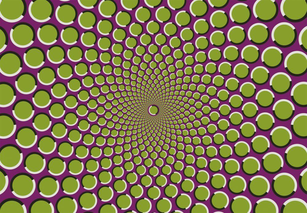 Иллюзия движения: если не фокусировать глаза на рисунке будет казаться, что спираль крутится.