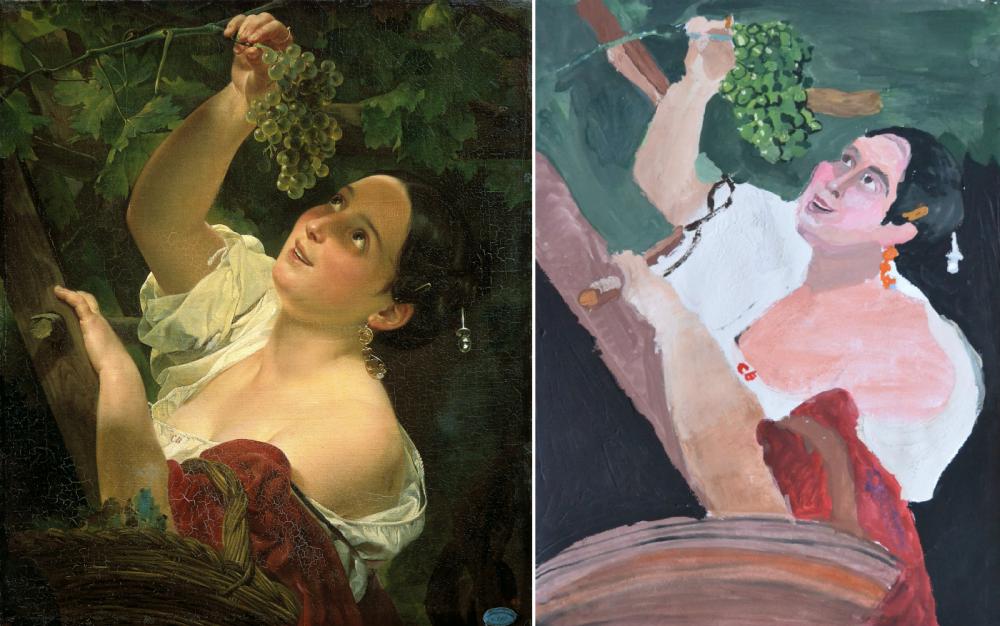 «Итальянский полдень», или «Итальянка, снимающая виноград» художника Карла Брюллова и ее копия авторства Самиры Дербишевой, 9 лет.