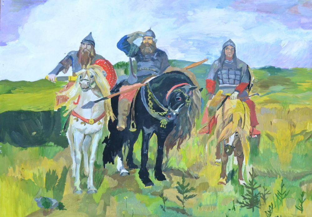 Васнецовские «Богатыри», нарисованные волжанкой Яной Церс, 12 лет.
