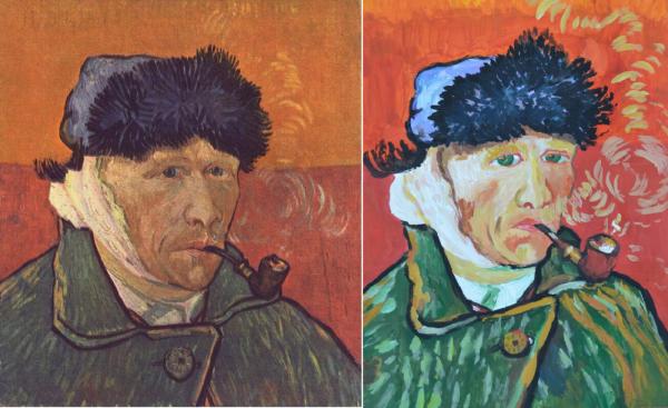 Автопортрет Винсента Ван Гога с перевязанным ухом и трубкой и рисунок Ярошенко Анастасии, 13 лет.