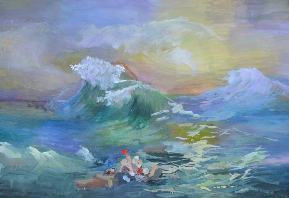 «Девятый вал», нарисованный по картине Айвазовского Нечаевой Юлией, 11 лет.