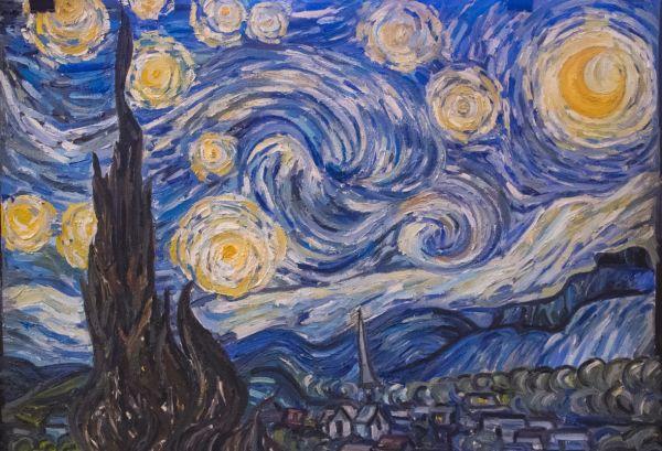 Репродукция «Звёздной ночи» Винсента Ван Гога, художник Снигур Алиса, 15 лет.