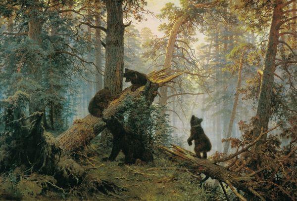 Картина Ивана Шишкина и Константина Савицкого «Утро в сосновом лесу», фото оригинала.
