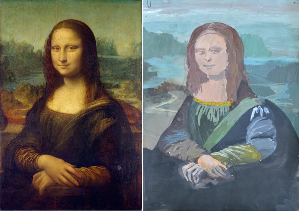 Знаменитая «Мона Лиза» Леонардо да Винчи и нарисованная с нее картина в исполнении Софии Степаненко, 9 лет.