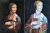 «Дама с горностаем», принадлежащая кисти Леонардо да Винчи, и рисунок Кольжановой Эвелины, 9 лет.