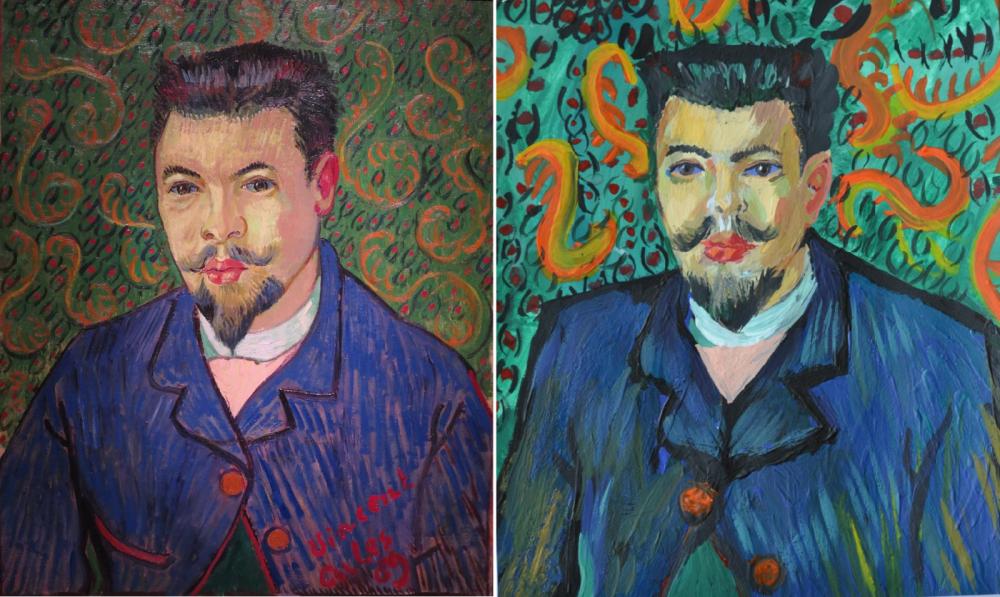 Виснет Ван Гог -  самый популярный у участников выставки художник. На этом снимке «Портрет доктора Рея» в его исполнении и работа участника экспозиции.