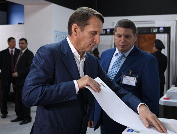 Председатель Государственной Думы РФ Сергей Нарышкин в единый день голосования на избирательном участке № 83 в Москве.