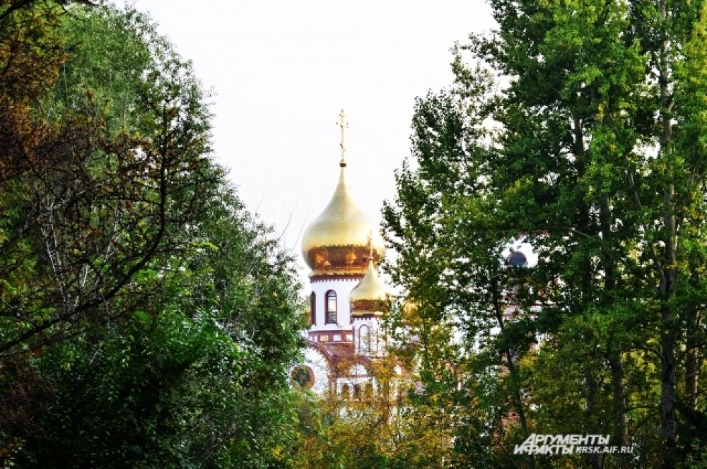Виднеются золотые верхушки куполов.