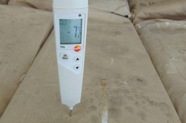 Инспекторы Россельхознадзора замеряют температуру в толще рыбы.