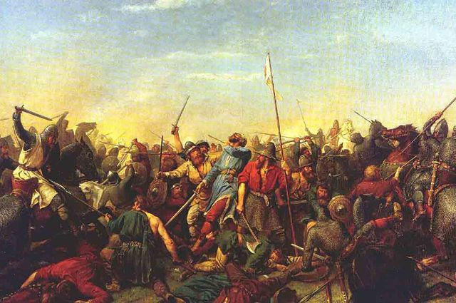 Битва при Стэмфорд-Бридже. Картина работы П.Н. Арбо.